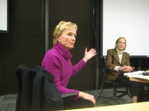 Dorothy Largay of Linked Foundation and Lynne Patterson of Pro Mujer speak to SVMN April 7, 2009